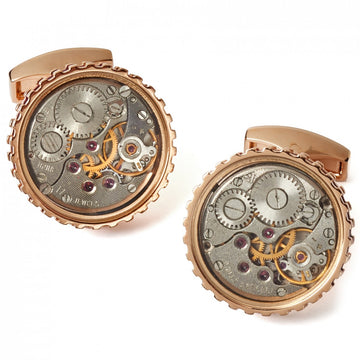 Tateossian Cufflinks Mechanical Skeleton Gear Round-RT Rose Gold and Burgundy