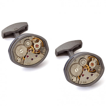 Tateossian Tonneau Mechanical Skeleton Movement Cufflinks, Limited Edition in Gunmetal