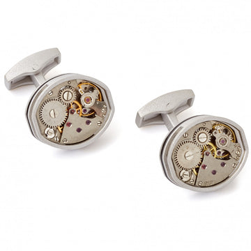 Tateossian Tonneau Mechanical Skeleton Cufflinks, Limited Edition in Rhodium Silver