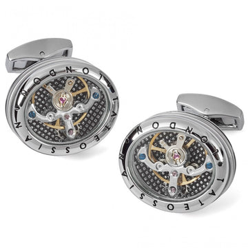 Tateossian Mechanical Panorama Tourbillon Watch Movement Cufflinks in Rhodium Silver