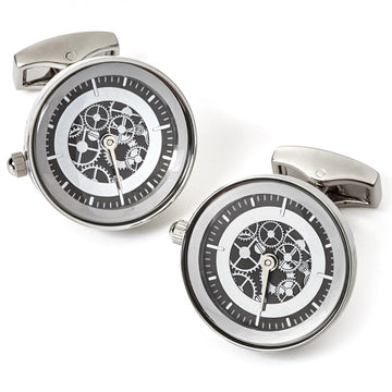 Tateossian Vintage Watch Movement Cufflinks, Silver