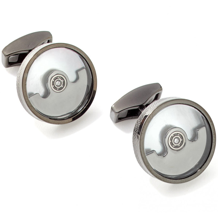Tateossian Pendulum Movement Automatic Cufflinks in White Mother of Pearl