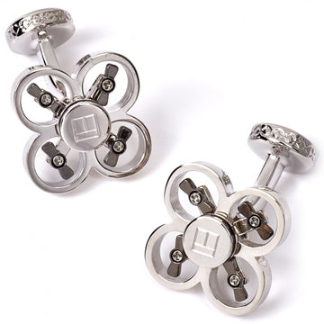 Tateossian Mechanical Mini Drone Cufflinks, Rhodium Silver - Cufflinks - Tateossian