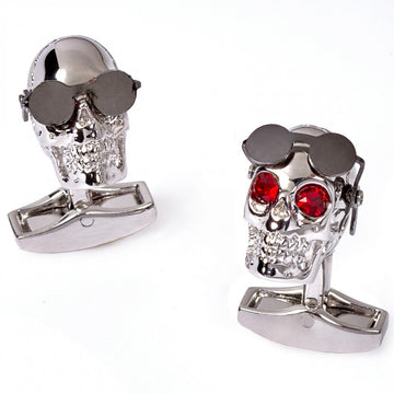 Tateossian Mechanical Aviator Silver Skull Cufflinks with Gunmetal Sunglasses