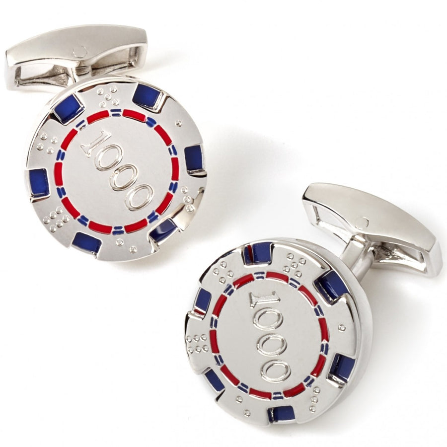 Tateossian Poker Chip Cufflinks, Rhodium Silver with Blue and Red