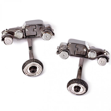 Tateossian Vintage Car Retro Cufflinks, Gunmetal and Rhodium - Cufflinks - Tateossian