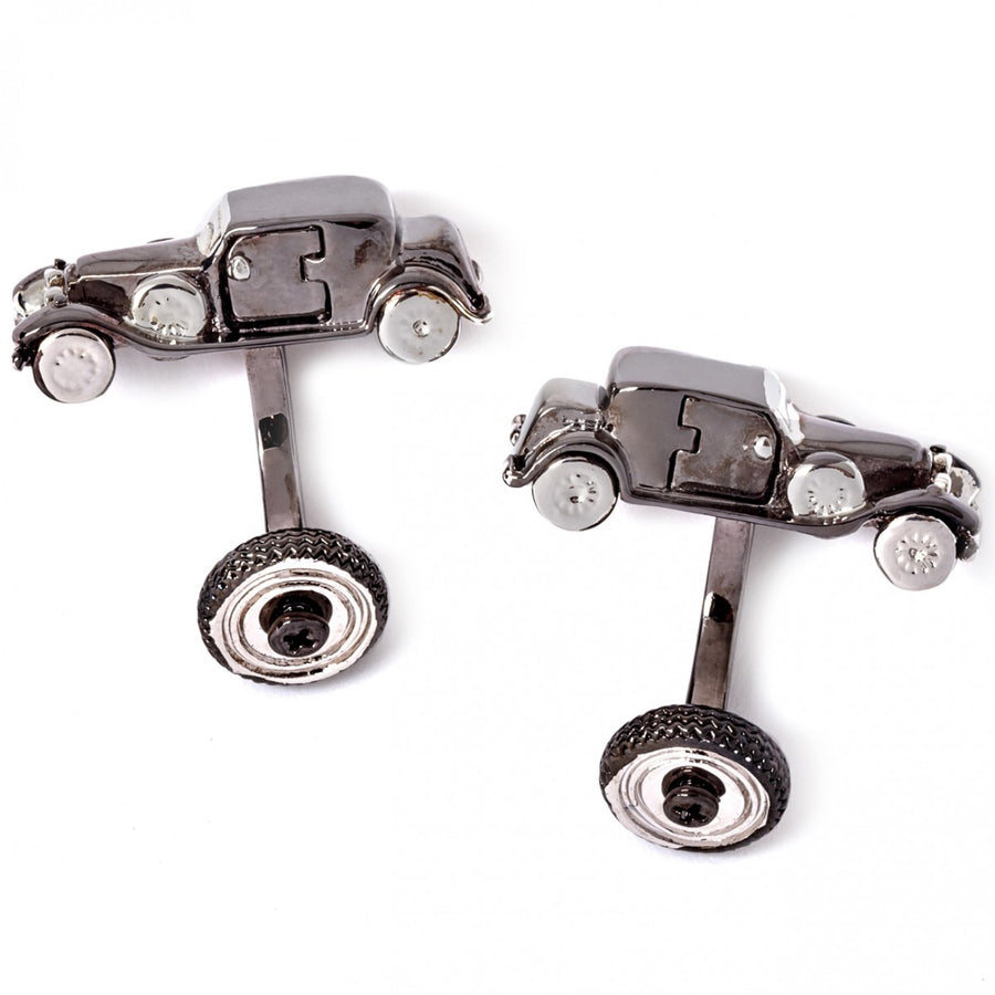 Tateossian Vintage Car Retro Cufflinks, Gunmetal and Rhodium