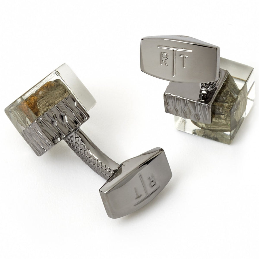 Tateossian Pyrite in Resin Cufflinks, Gunmetal casing