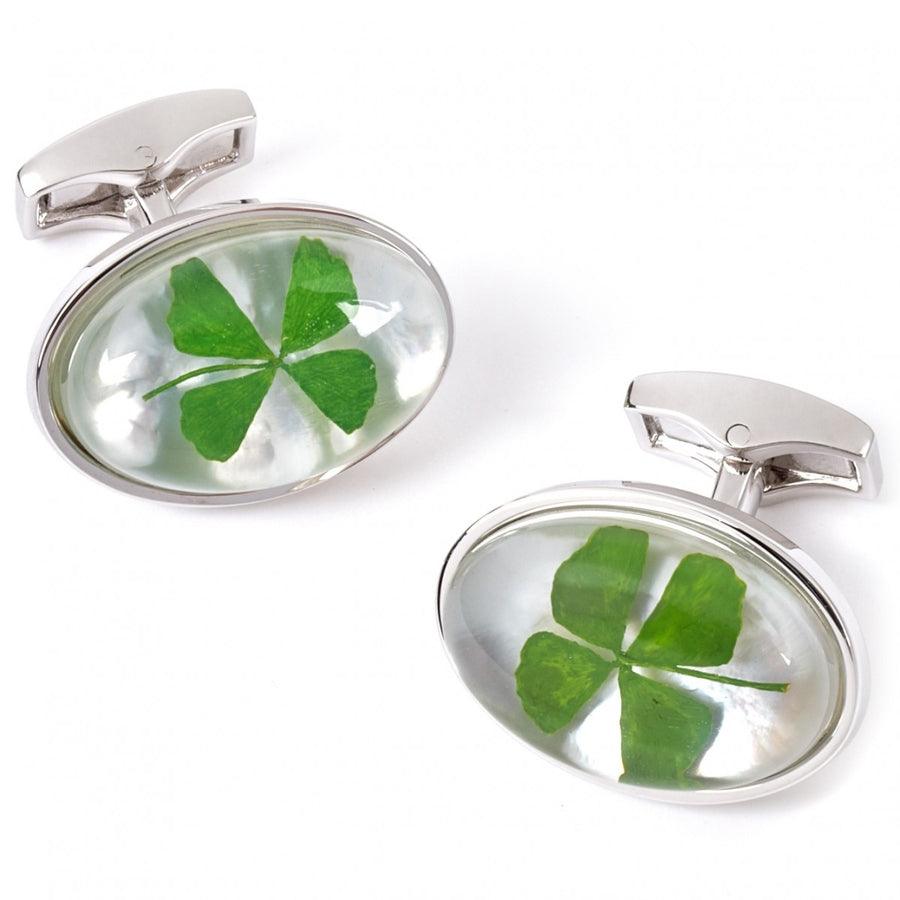 Tateossian Four Leaf Clover Green Cufflinks, Rhodium Silver