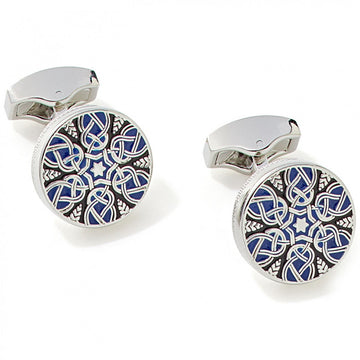 Tateossian Star Weave Guilloche Enamel Cufflinks in Blue - Cufflinks - Tateossian