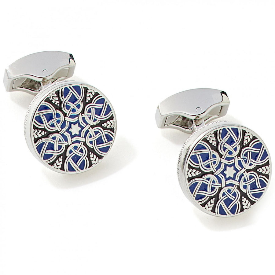 Tateossian Star Weave Guilloche Enamel Cufflinks in Blue