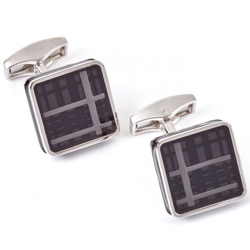 Tateossian Tartan Ice Cufflinks Black Enamel Rhodium Silver Case - Cufflinks - Tateossian