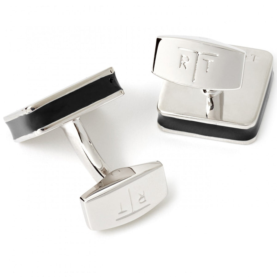 Tateossian Tartan Ice Cufflinks Black Enamel Rhodium Silver Case