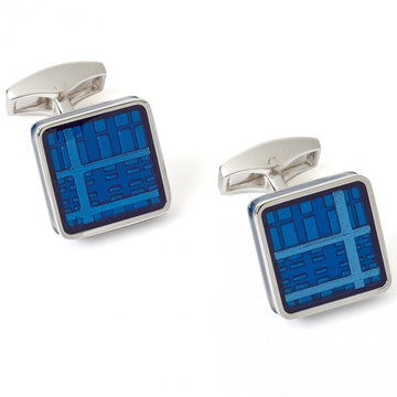 Tateossian Tartan Cufflinks, Blue Enamel in Rhodium Silver Case - Cufflinks - Tateossian