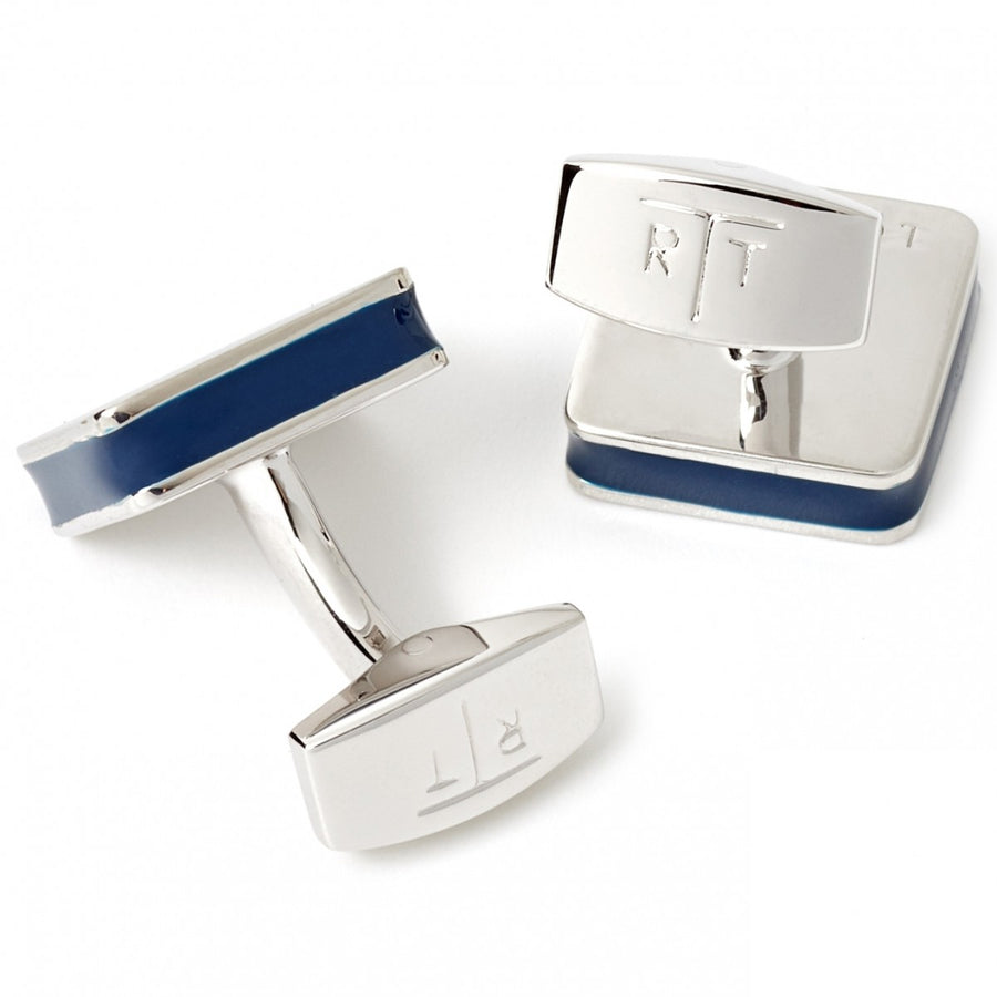 Tateossian Tartan Cufflinks, Blue Enamel in Rhodium Silver Case