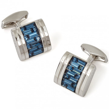 Tateossian Interlock Belgravia  Swarovski Blue Cufflinks with Rhodium Silver case