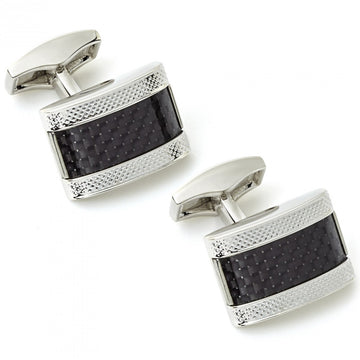 Tateossian Carbon Fibre D-Shape Black Cufflinks