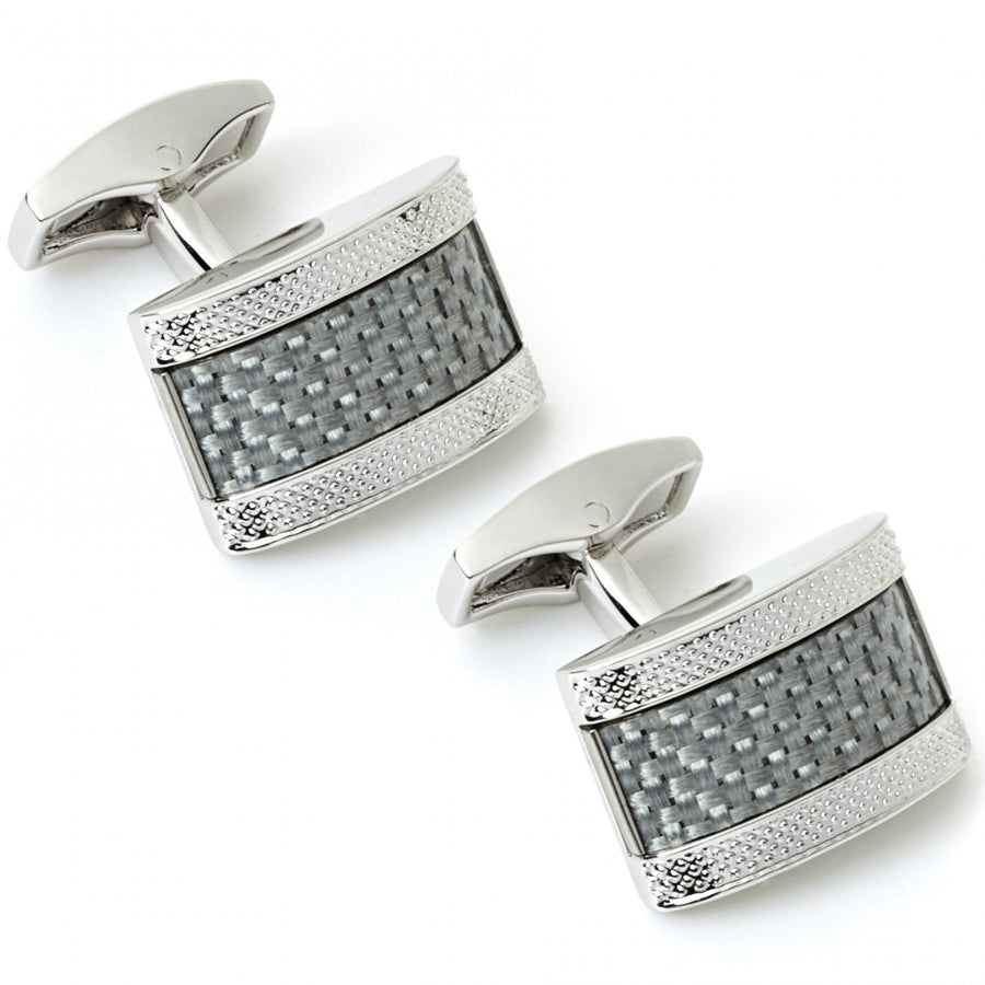 Tateossian Silver Grey Carbon Fibre D-Shape Knitted Cufflinks