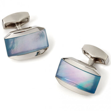 Tateossian Moonlight Crystal Cufflinks, Blue Mother of Pearl