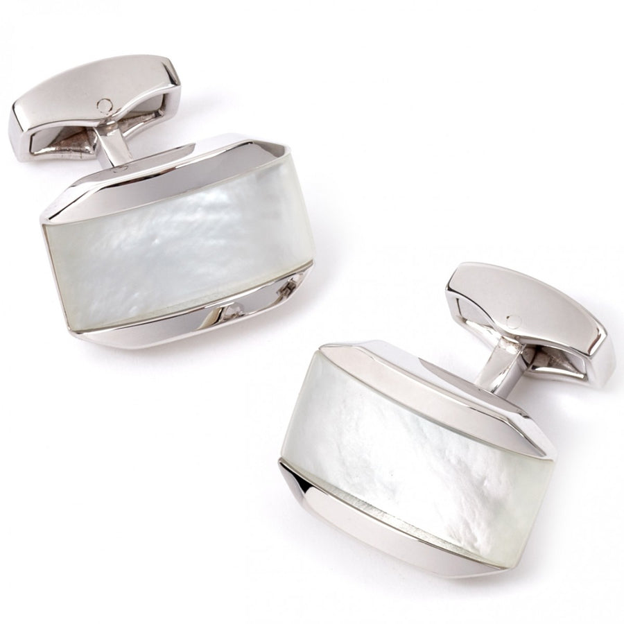 Tateossian Moonlight Men's Pearl Cufflinks, White Mother of Pearl and Quartz