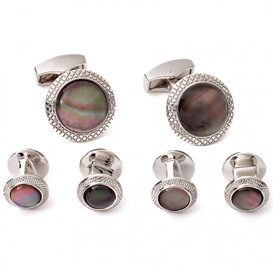 Tateossian Black Mother of Pearl Cufflinks and Studs in Rhodium Silver Case