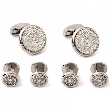 Tateossian Silver Cufflinks and Studs Set, RT Metal Rotondo Guilloche with Rhodium Silver case - Cufflinks - Tateossian