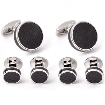 Tateossian Shirt Studs and Cufflinks Set, Black Carbon Fibre Disc with Rhodium Silver case
