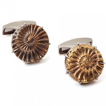 Tateossian Ammonite Cufflinks, Limited Edition Fossil Negative - Cufflinks - Tateossian