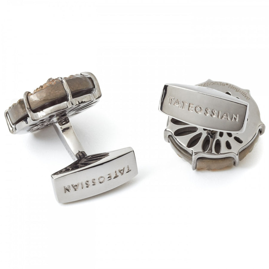 Tateossian Ammonite Cufflinks, Limited Edition Fossil Negative