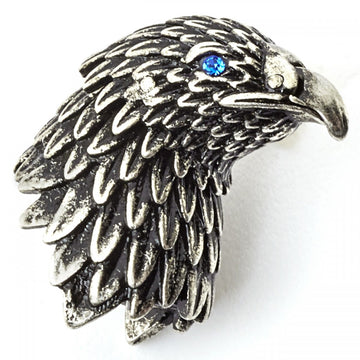 Tateossian Eagle Lapel Pin Oxidized Rhodium Plating with Blue Swarovski Eyes - upscaleman.myshopify.com