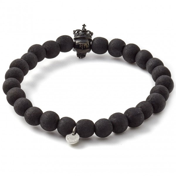 Tateossian King Crown Bracelet in Black,  Crystal Skull Eyes