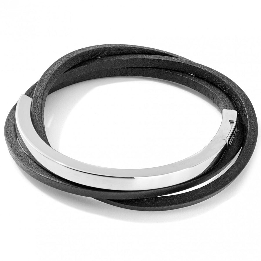 Tateossian Mezzo Silver and Leather Cuff Bracelet, Black