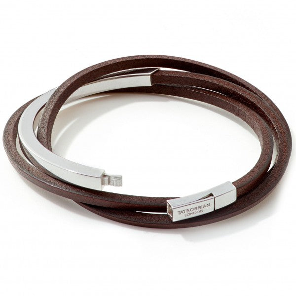 Tateossian Mezzo Silver and Leather Bangle Bracelet, Brown