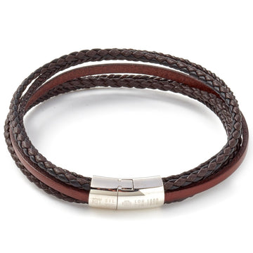 Tateossian Cobra Leather Multi Strand Wrap Bracelet with D shaped Clasp, Brown