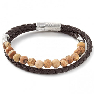 Tateossian Havana Jasper Beads and Leather Bracelet, Brown with Silver Clasp