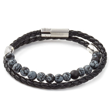 Tateossian Havana Black Italian Braided Leather Bracelet, 41cm