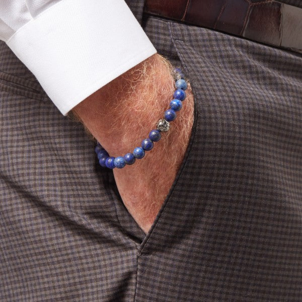 Tateossian Asteroid Matte Blue Beaded Bracelet, 6.8 Inches
