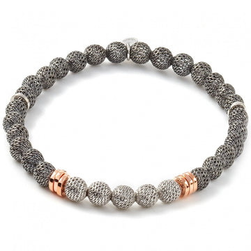 Tateossian Stonehenge Metallica Silver Meash Beads with Discs in Rose Gold Bracelet