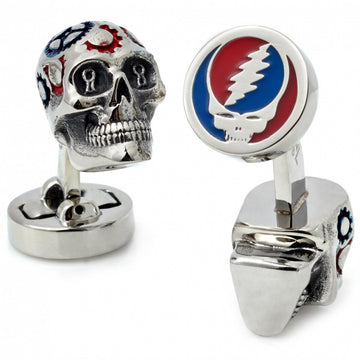 Tateossian Grateful Dead Skull with Gears Painted Cufflinks, Rhodium Plated Silver