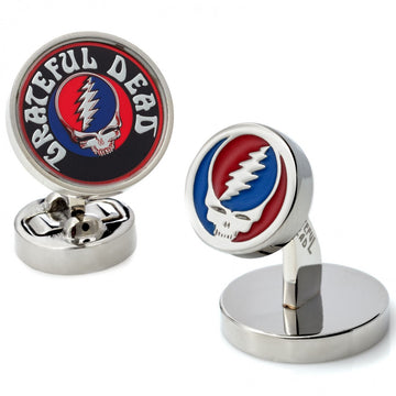 Tateossian Grateful Dead Steal Your Face, Skull and Roses Logo, Rhodium Plated Silver Cufflinks - upscaleman.myshopify.com