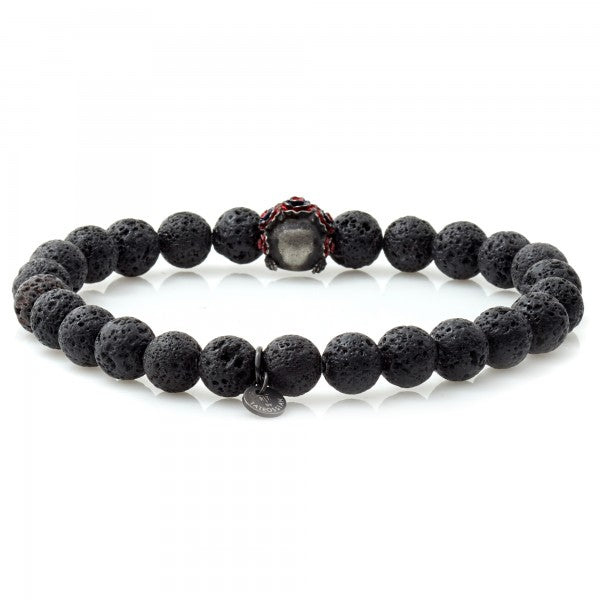 Tateossian Grateful Dead Skull Lava Rock Bracelet with Black Lava Beads