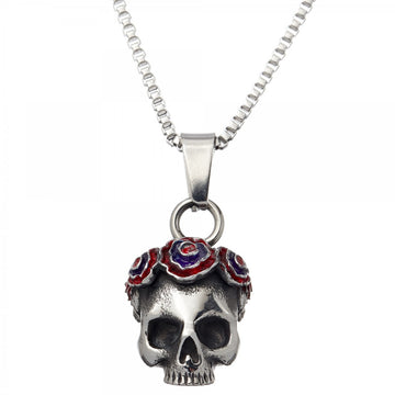 Tateossian Grateful Dead Gothic Rose Skull Pendant Necklace, Silver Steel, 48.5 cm Chain Length