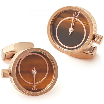 Tateossian Prezioso Watch Bronze Cufflinks, Rose Gold Plated