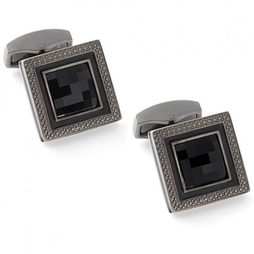 Tateossian Quadrato Nero Swarovski Crystals Cufflinks, Black
