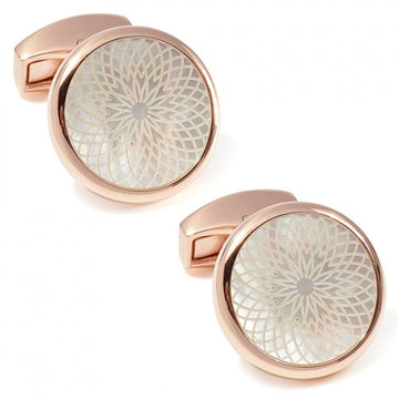 Tateossian Rotondo Guilloche Stainless Steel Engraved Cufflinks, IP Rose Gold - Cufflinks - Tateossian