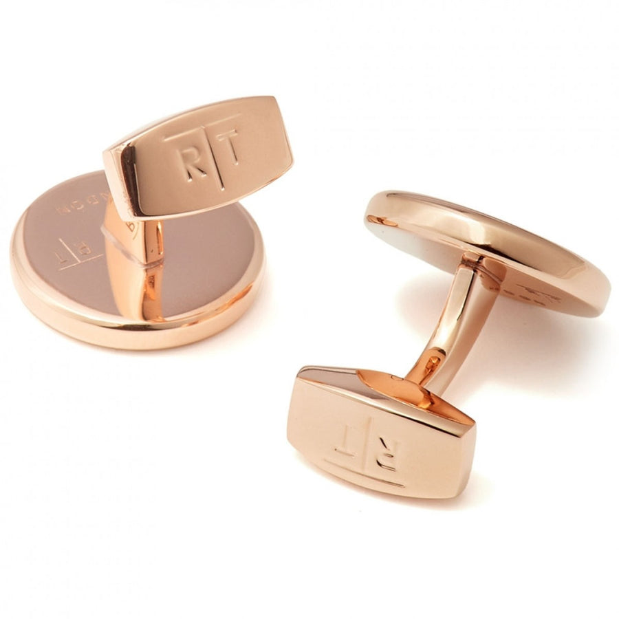 Tateossian Rotondo Guilloche Stainless Steel Engraved Cufflinks, IP Rose Gold