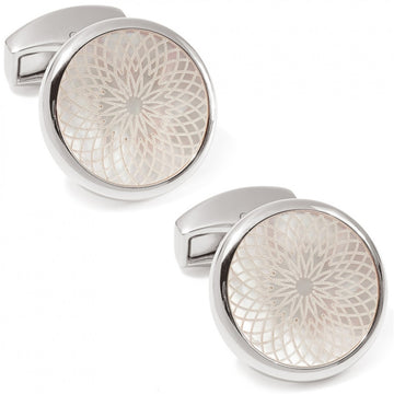 Tateossian Rotondo Guilloche Engraved Men's Cufflinks, White Mother of Pearl