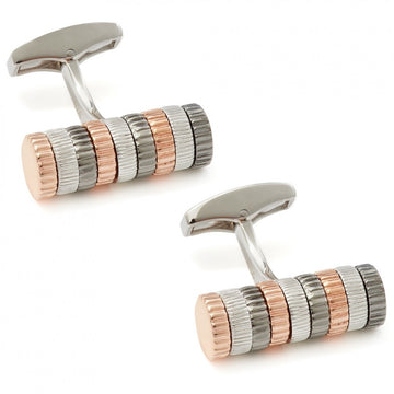 Tateossian Cylindrical Rotation Sterling Silver Cufflinks