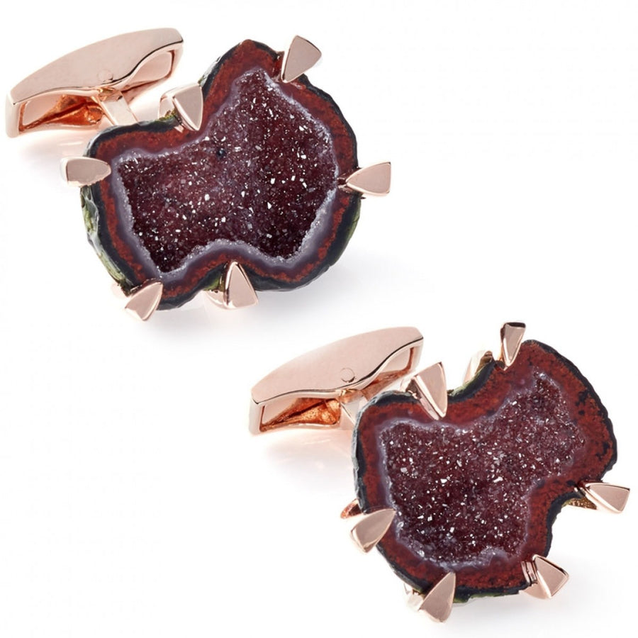 Tateossian Geode Red Stone Cufflinks, Rose Gold Plated Silver