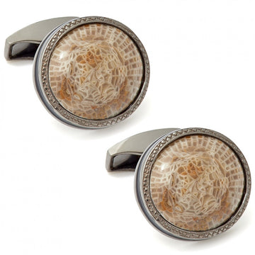 Tateossian Devonian Horn Coral Limited Edition Sterling Silver Cufflinks, Black - Cufflinks - Tateossian